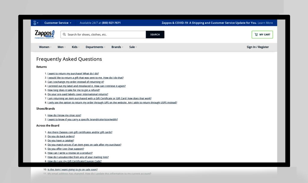 ejemplos de páginas FAQ zappos