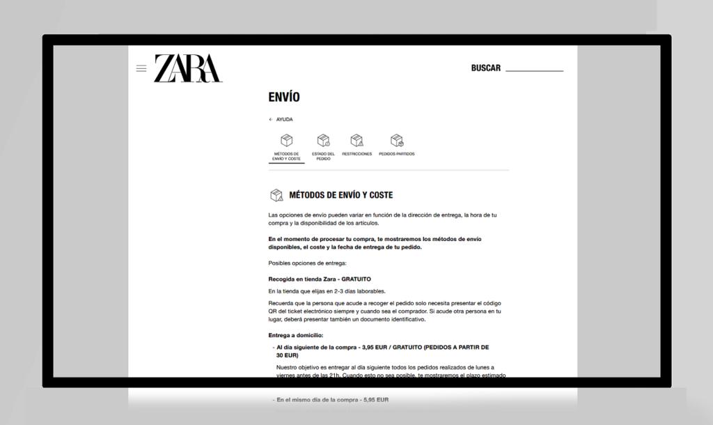ejemplos de páginas FAQ zara