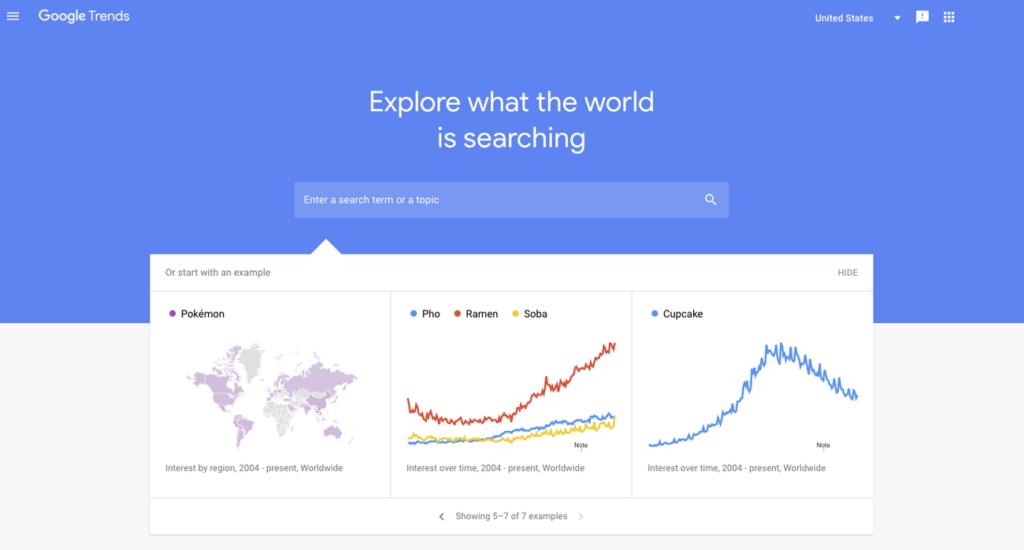 cómo buscar palabras más buscadas en Google trends