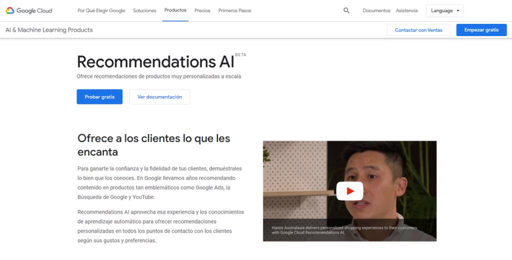 Recommendations AI página principal