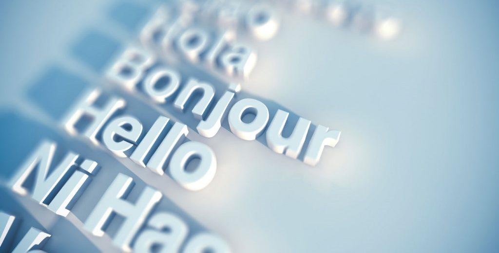 palabras en diferentes idiomas sobre fondo blando