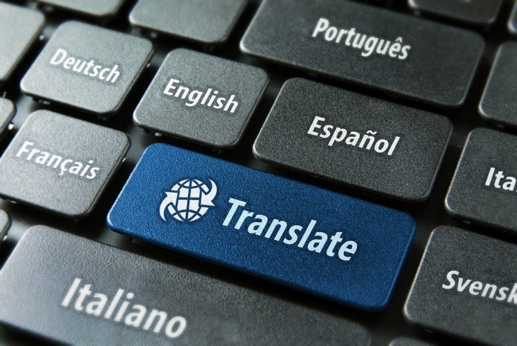 teclado con tecla de traducir en inglés