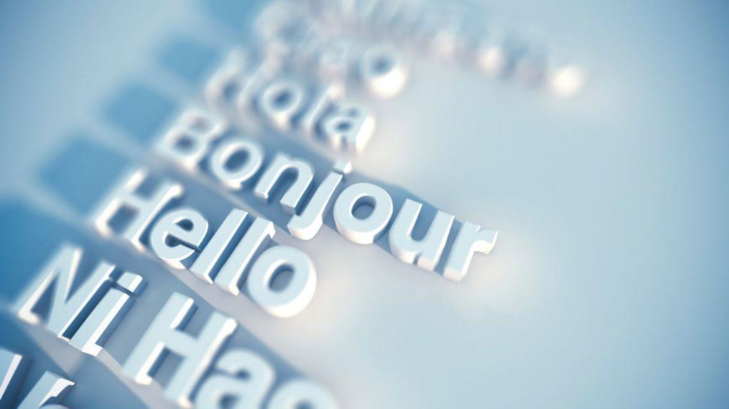 hola en distintos idiomas en texto tridimensional blanco